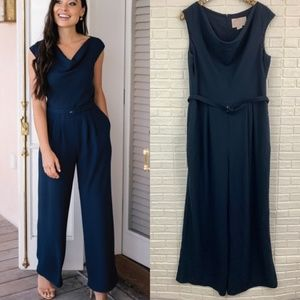 Gal Meets Glam delia jumpsuit wide leg navy belted